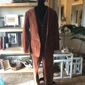 Vintage three piece burnt red men's corduroy suit
